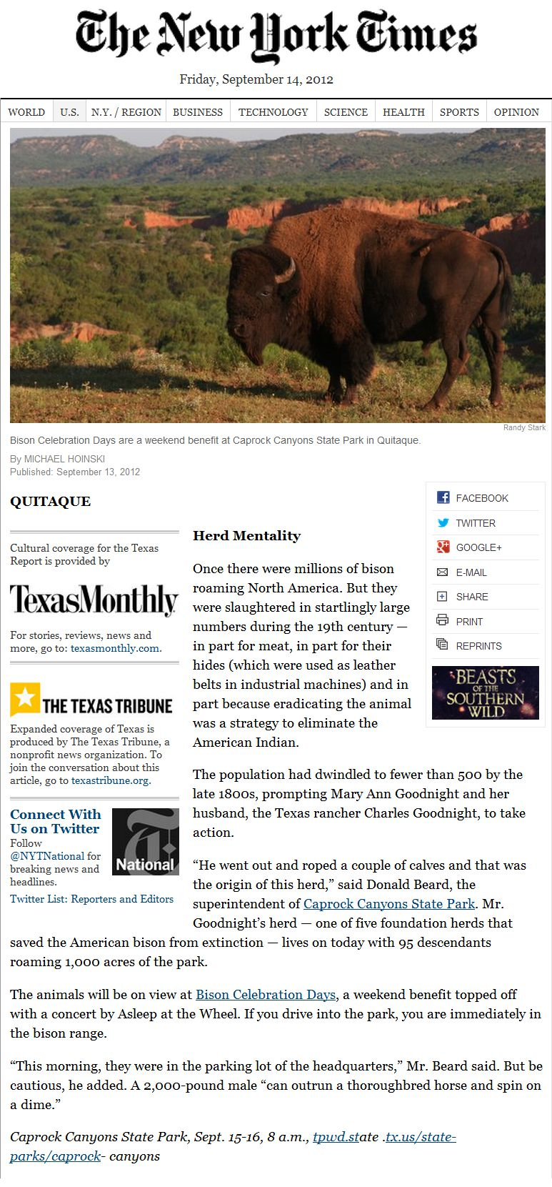 Quitaque in the New York Times