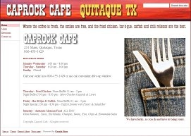 Caprock Cafe Website