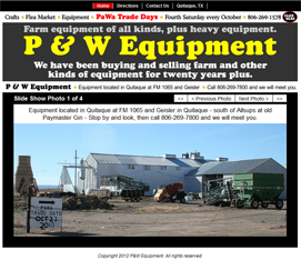 P & W Equipment Website